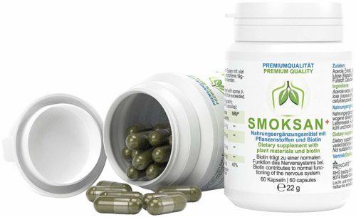 Smoksan Anwendung mit 60 Kapseln pro Dose